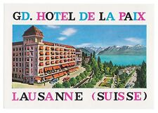 Grand hôtel de la paix Lausanne switzerland luggage label valise autocollant x0318