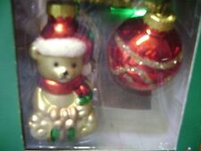 HANDPAINTED BLOWN GLASS CHRISTMAS GOLDEN BEAR/ RED BALL ORNAMENTS