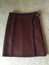 Prada Wool and Leather Skirt - Size 42 - Authentic - RN 98339-CA34767 - $479
