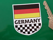 "GERMANY German Flag & Chequered Shield STICKER 2.5"" Classic Car Race Travel Bike"