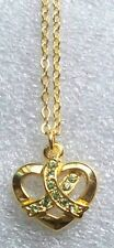 Lymphoma Awareness ribbon on Heart necklace-peridot and gold,made in USA