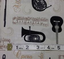 Music, Guitar, Tuba, Fabric,100% cotton, Allegro from STOF MCS-15-030. fat 1/4s