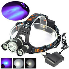 BORUIT 6000LM 3xXML T6 White+2R2 UV LED Headlamp Headlight Head Torch+AC Charger