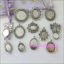12Pcs Mixed Tibetan Silver Tone Picture Frame Charms Pendants