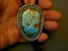 """Royston turquoise sterling silver bolo tie  2 5/8"""" tall"""