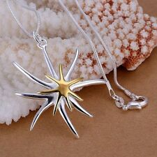 UK Sterling Silver and Gold Plated Double Star / Starfish Pendant Necklace   030