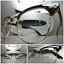 Mens Women VINTAGE 60's RETRO Style Clear Lens EYE GLASSES Tortoise & Gold Frame