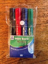 PACK OF 4 WHITE BOARD MARKER PENS IDEAL FOR CLASSROOMS & PRESENTATIONS