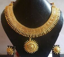 South Indian Wedding 22K Gold Plated Surya Rani Haar Necklace earrings Jewelry