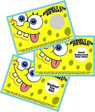 SPONGEBOB PERSONALIZED SCRATCH OFF OFFS PARTY GAME GAMES CARDS BIRTHDAY FAVORS