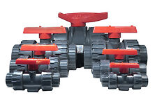 """PVC 1"""" Double Union Ball Valve - Durable - Smooth Handle - Made in Taiwan"""