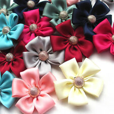 10/50PCS Ribbon Flowers Bows W/ Rhinestone Appliques Craft Wedding Deco Mix