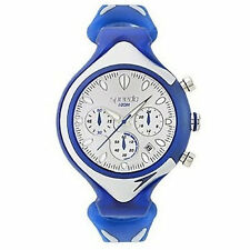 Speedo SD55162 Men's Chronograph Silver Dial Silver and Blue Rubber Strap Watch
