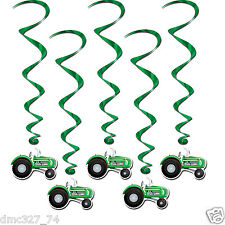 5 FARM Ranch Cowboy John Deere Party GREEN TRACTOR Hanging WHIRLS Swirls