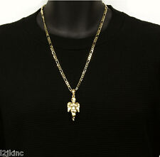 Angel Piece Charm  Pendant Figaro Chain Necklace Jewelry Gold  Plated