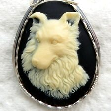 Collie Dog Cameo Pendant .925 Sterling Silver Animal Jewelry Black Resin