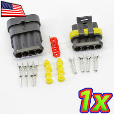 [1x] 4P 1 x 4 Pin Waterproof 16-20AWG Rugged Automotive Connector IP67