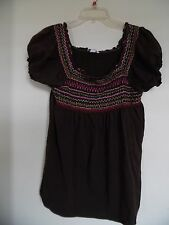 DRESSBARN Brown  Embroidered Peasant Style Blouse Top Women's Sz XL
