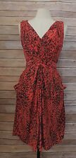 YOANA BARASCH ~ Size 8 ANTHROPOLOGIE Red & Black Sleeveless Cocktail Party Dress