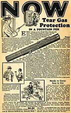 1950 small Print Ad of Tear Gas Fountain Pen Pistol .38 Special S&W Cartridge