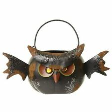 Black Owl Candle Holder Halloween Decorative Ornament Metal Tea Light Holder