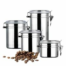 4 Piece Stainless Steel Container Jar Set w Lid Kitchen Storage Coffee Sugar Tea