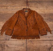Womens Vintage Western Rancher Leather Tassel Jacket Brown XL Size 16 R4640