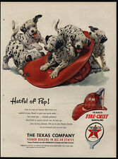 1951 Cute DALMATIAN Puppies - Dogs - Fireman Hat - TEXACO - VINTAGE AD