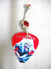 IRON MAIDEN EDDIE STEVE HARRIS FEAR OF THE DARK LIVE GUITAR PICK RED BELLY RING