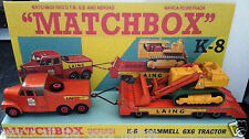 Lesney MATCHBOX Diecast KING SIZE K-8 SCAMMELL 6X6 TRACTOR & Custom Box Display