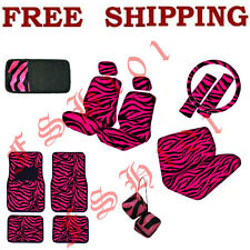 Set of Hot Pink Zebra Print Car Seat Covers Floor Mats CD Visor Dice & Lot More