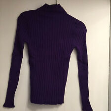 Purple Long Sleeve, Ribbed Turtleneck Sweater (SMALL) (Good Condition)