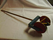 Vintage Childs roller push pull  toy all wood 33' long NO PLASTIC  #535