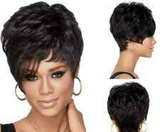 Black Girls Cosplay Wig Women Loose Wave Short Hair With Tilted Frisette