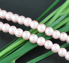 100 x Pink Glass Pearl Effect Beads - 8mm - 08903