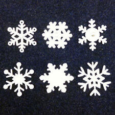 Buddly Crafts 32mm Felt Snowflakes with Gems - 12pcs White