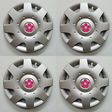 "1998-2015 VW BEETLE 16"" PINK DAISY FLOWER Hubcaps Wheelcovers SET"
