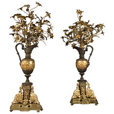 Pair of Large French Gilt Bronze and Patinated Vase Form Candelabras