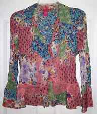SUNNY LEIGH Womens Ruffle Crinkle LS Multi Color Print Shirt Blouse Top Large L