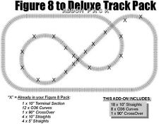 LIONEL FASTRACK FIGURE 8  to a DELUXE Track Pack ADD-ON PACK eight 90 layout