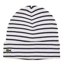 LACOSTE STRIPED BEANIE HAT RB3518 - WHITE & NAVY - BNWT