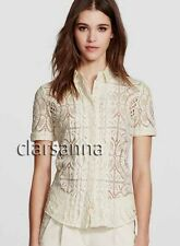 Burberry London AUTH Ivory Tan Trellis Sheer Lace Button Shirt 8 + Camisole NWT