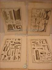 CACCIA DIDEROT/Panckoucke 1780 Set di 4 tavole incise TRAPPOLE Arte venatoria
