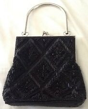 Evening Bag Beaded Formal Dress Purse Handbag Black Short Handle And Chain