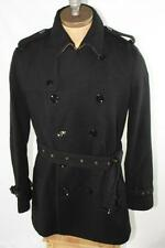 AUTH $1295 Burberry Brit Men Black Trench Wool Coat S