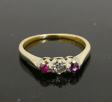 Antique 18ct Yellow Gold & Platinum Ruby & Diamond Three-Stone Ring (Size N)