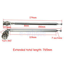 765mm Telescopic Antenna Q9 BNC Connector Portable FM Radio Scanner VHF UHF TW