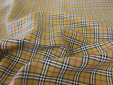 5 Metres Tan Tartan Poly Viscose Dress Fabric. (Special Offer)