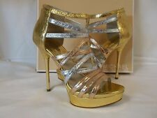 Michael Kors 10 M Maddie Rose Gold Leather Platforms New Womens Shoes Heels