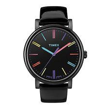 Orologio Timex T2N790 in pelle vernice nero casual donna indici colorati